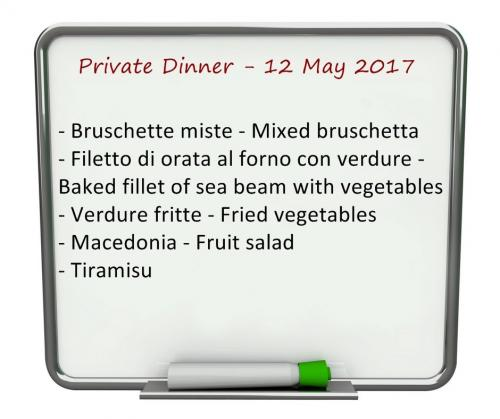 Villa Valentini- private dinner - Menu